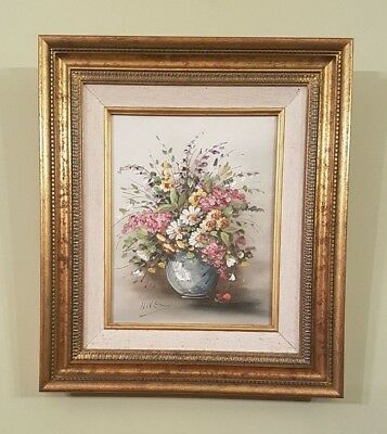 Vintage Still Life Oil Painting on Canvas, flowers, framed, signed