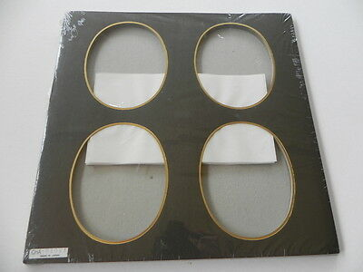 Pack of 10 Photo Mats - 4 per page - Black - Oval