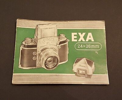 Vintage Exa Camera 24x36 mm Owners Manual Printed Germany