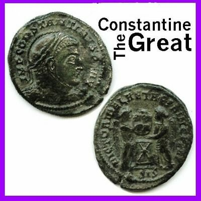 Ancient Coin House Constantine The Great Bronze Coin Roman Empire 100% Authentic