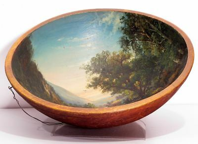 Antique Primative Folk Art Hand Painted Wooden Bowl Country Waterfalls Man Cows