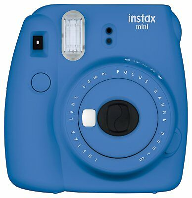 Fujifilm Instax Mini 9 Instant Polaroid Camera with Flashing LED Cobalt Blue New