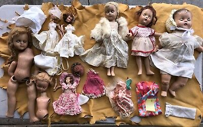 Vintage Dolls Old Clothes Dresses Lot gothic