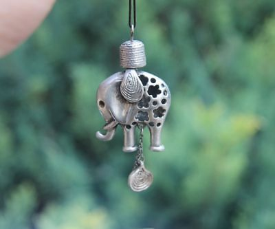 7 CM Chinese Miao Silver Jewelry Handwork Hollow Out Elephant Amulet Pendant