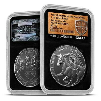 Four Horseman Of The Apocalypse Series - Red Horse Of War 1 oz Silver NGC MS70