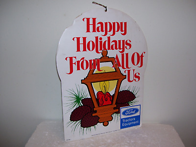 Vtg Ford Implement Farm Tractor Equipment Dealership Store Christmas Sign Clean
