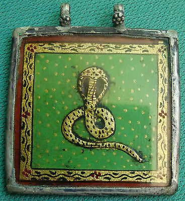 Vintage Snake Painting With Golden Leaf Silver Necklace Pendant Rarejewelry