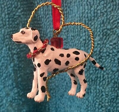 OOAK Dalmation Dog Wire Heart Christmas Holiday Ornament