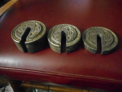 Vintage Antique Victorian Scale Counter Weights Cast Iron With Victorian Etching