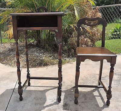 Antique Mahogany Wood Turned Spindle Leg Telephone Table w/ Matching Chair #3151