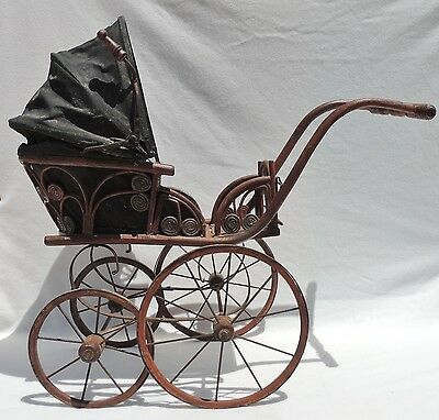 Antique Iron Wicker Baby/Doll Carriage Stroller Photography Prop Boy/Girl #3084