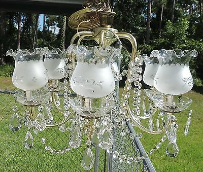 Vtg 6 Arm Crystal Glass Hanging Chandelier Ceiling Fixture w/Glass Etched Shades