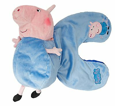 Childrens George Pig Reversible Travel Pillow Cushion & Plush Toy in Blue