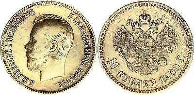 Russland 10 Rubles Gold Nicholas II - Imperial eagle 1900 St Petersburg