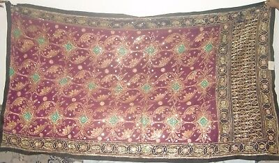 Indian Old Vintage Red Green Sitara Work Patchwork Wall Hanging Ethnic Tapestry