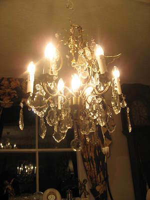 French Antique 6 Branch 7 Light Chandelier & Crystal Drops Fully Restored /3848