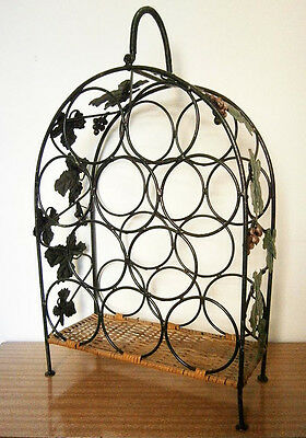 RETRO VINTAGE WROUGHT IRON WINE RACK with VINE LEAVES & GRAPES Holds 10 Bottles