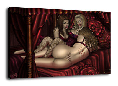 Art Oil Painting Print On Canvas Home Decor Vampires In The Red Chamber Framed