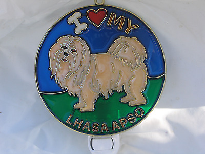 """Stained Glass Style """"lhasa Apso """" Dog Night Light- Great Gift For All Occasions!"""