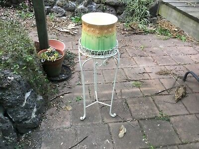Metal plant pot stand with shabby chic vintage pot