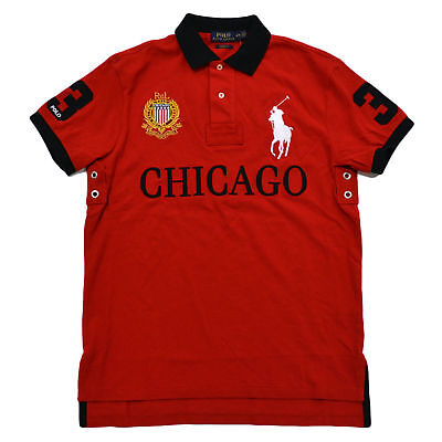 New Polo Ralph Lauren Men Chicago  Big Pony Shirt Medium M  Custom Fit