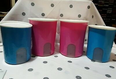 Tupperware set of 4 One Touch window canisters