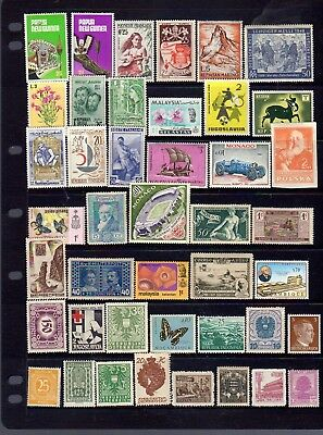 43 all different mint world stamps  - mostly unhinged.