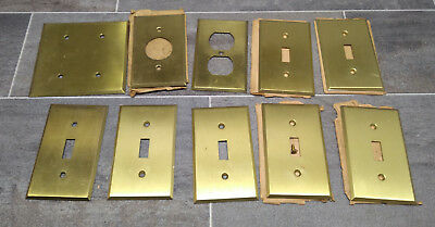 Lot of 10 Antique Solid Brass Switch Plates Wall Outlet Covers vintage NOS