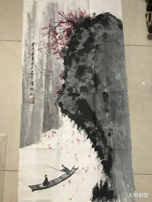 excellent Chinese Painting on ricepaper w photo by Fu Baoshi 傅抱石:landscape