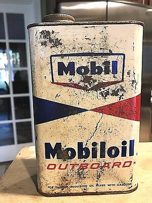 Vintage Socony Mobil Mobiloil Outboard Can*never Opened*full Sealed Can 1 Quart