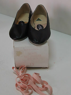 Salvios Character Dance Shoes, Black Leather, Low or Cuban Heel New with Elastic