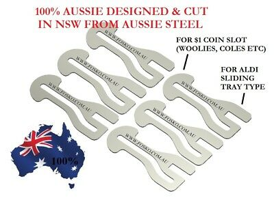 6x ORIGINAL FOSKO AUSSIE SHOPPING TROLLEY COIN TOKEN MASTER KEY , $1 COIN + ALDI