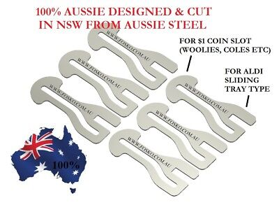 6x ORIGINAL FOSKO AUSSIE SHOPPING TROLLEY TOKEN MASTER KEY , $1 COIN + ALDI
