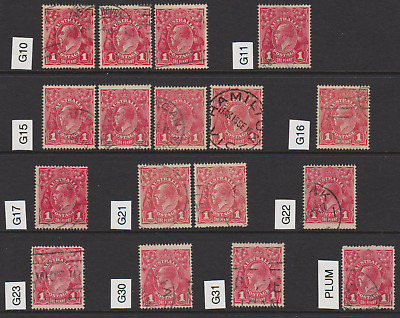 1914 1d Red KGV 1st Watermark, page of listed shades, 25 stamps, used.