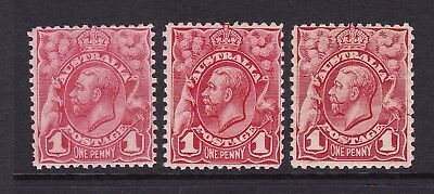 1913 1d Red Engraved KGV Pale red and 2 red shades, Mint