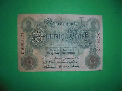 Antique 50 Mark German Banknote 21/4/1910 107 Years Old