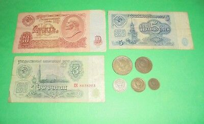 10,5,3 Rouble Russian Notes & 5 Russian Coins All Soviet Era
