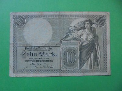 Antique 10 Mark German Banknotes 6/10/1906 (111 Years Old)