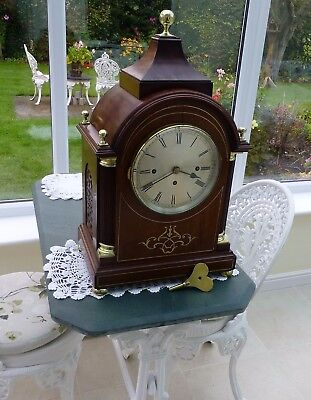 Three--Fusee-Bracket-Clock-with-Westminster-Chime-in-Mahogany-case