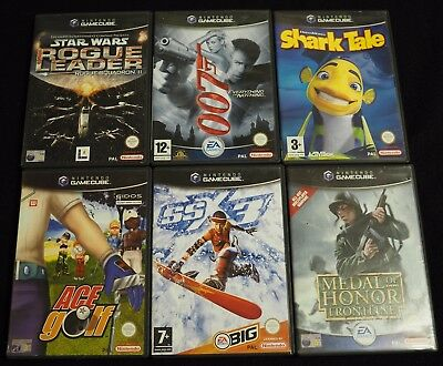 6 Nintendo GameCube Games PAL 007 Star Wars Shark Tale Ace Golf SSX3 MOH