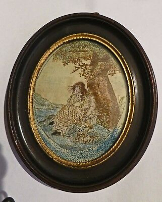 **NICE c1790 Georgian Antique Embroidered Picture Beautiful Girl 1 Oval BoPeep?