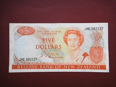 1985-89 New Zealand $5 Five Dollar Orange Old Paper Banknote VF++ Condition