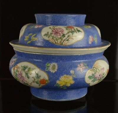 A Beautiful & Rare Chinese 19Th Century Large Bluue Ground Bowl And Cover