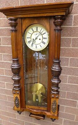 Double Weighted Vienna Wall Clock Antique  fully working  strikes half & hour