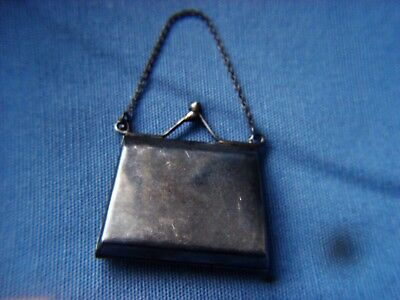 OLD UNUSUAL HALLMARKED STERLING SILVER LADY PILL BOX BAG SHAPED 13,2 gms