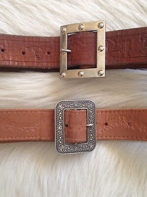Women's Vintage 70s Tan Tooled Boho festival Belt Lot 2