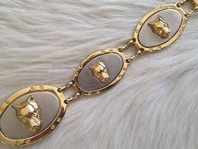 Women's Vintage Cougar Panther Head Gold Bling Chain Belt S