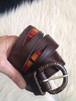 Women's Vintage Brown Aztec Mexico Leather Belt Boho
