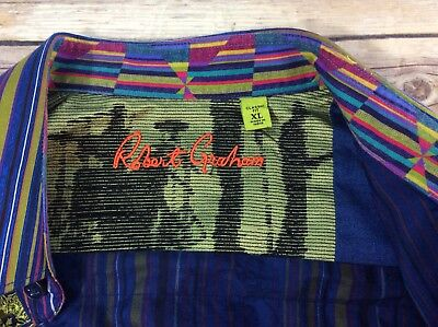 Robert Graham Flip Cuff Men's Shirt Size XL Button Down Embroidered Striped NICE