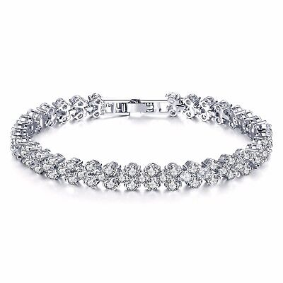 NEW Clear Crystal Brilliant Cut Clear Sapphire Bracelet Rhodium Plated-RRP £129